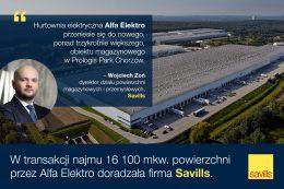 Savills doradzał firmie Alfa Elektro w najmie powierzchni w Prologis Park Chorzów