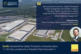 Savills doradzał firmie Galicja w najmie powierzchni w Panattoni Park Sosnowiec V